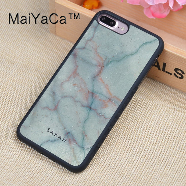 MaiYaCa Custom Name Initial Marble TPU Case For IPhone 7 Plus Full Protection Luxury Cover Case For IPhone 7Plus Coque