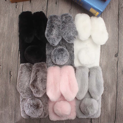 Maimang 7 Case Warm Plush Fluffy Pet Rabbit Fur TPU Case For Huawei Maimang 7 Soft Cover 3D Doll Pink Cover
