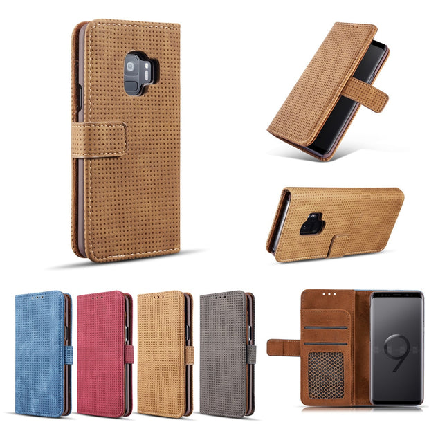 Mesh Leather Wallet Case For Samsung Galaxy S9 S10 Plus Lite S10e Clip Cover Clip Cases Kickstand Pouch Vintage European Stylish