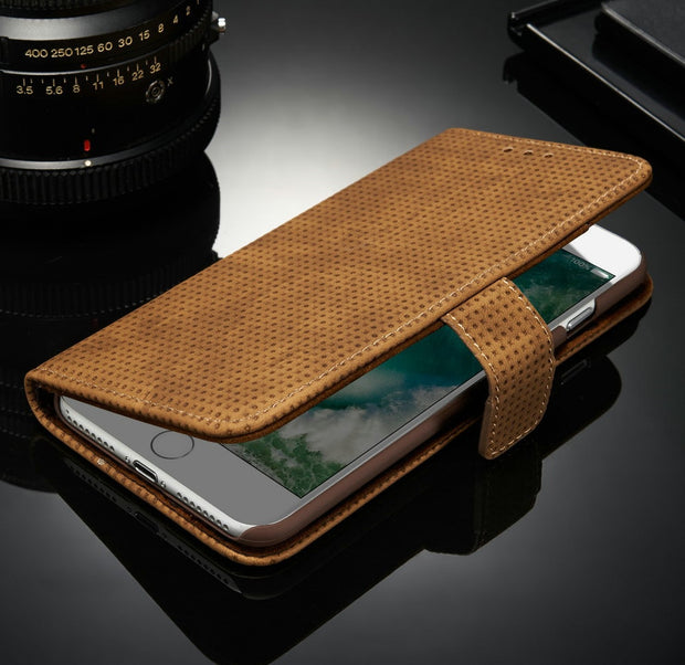 Mesh Vintage Leather Kickstand Wallet Case For IPhone 6 6S Plus 6Plus Magnetic Cllip Cover With Card Pocket Shockproof Hot Sale