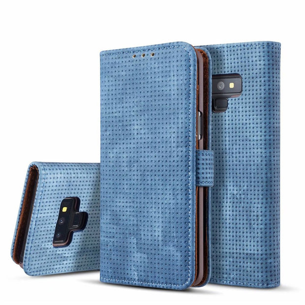 Mesh Vintage Leather Wallet Case For Samsung Galaxy Note 9 Flip Cover Matte Plastic Phone Holder Card Pocket European Stylish