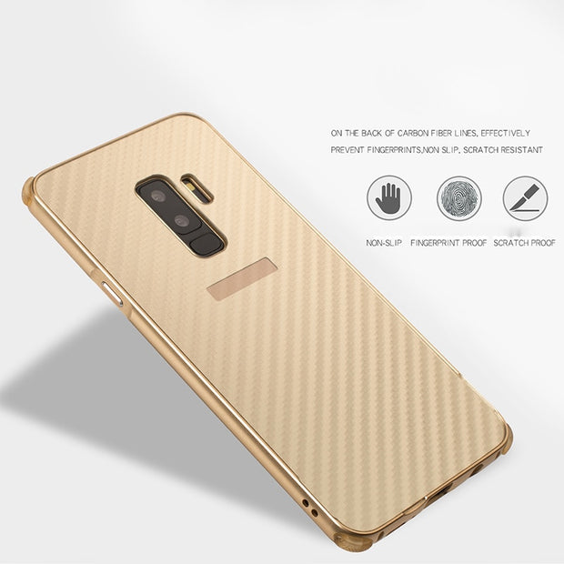 Metal Frame Note 9 Case For Samsung Galaxy S9 Case Carbon Fiber Cover For Samsung Galaxy S7 Edge S8 S9 Plus Note 8 A8+ 2018 Case
