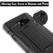Military Hybrid Cover For Samsung Galaxy S8 Case Black Coque For Galaxy S8 Plus Case Heavy Duty Kickstand Clip Hard Back Bags