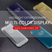 Mirror Case For Samsung Galaxy S9 S9 Plus Note 8 S8 Smart Clear View Flip Leather Cover For Samsung A5 A7 A8 A6 2018 Phone Case
