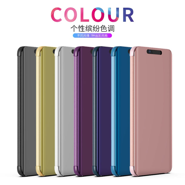 Mirror Flip Case For Huawei P30 Case Luxury Clear View PU Leather Smart Cover For Huawei P30 Phone Case For Huawei P 30