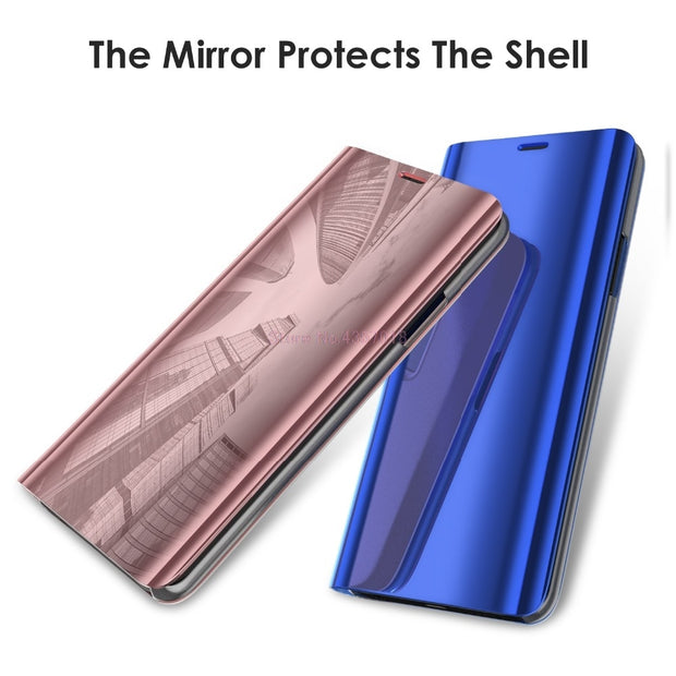 Mirror Smart Case For Galaxy J4 SM-J400F Leather Flip Case For Samsung Galaxy J6 SM-J600F Stand Cover For Galaxy J6 J4 2018 Box