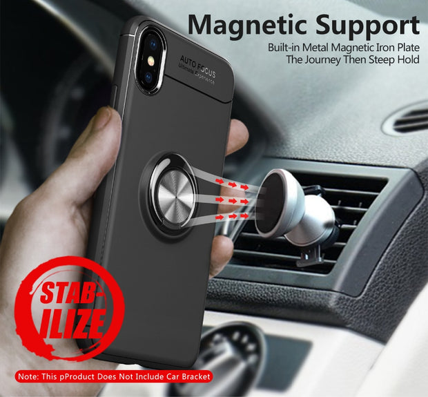 Mobile Cover For IphoneX Case Car Holder Stand Magnetic Bracket Finger Ring Back Cover For Iphone7Plus 6SPlus 5S SE Free Shiping