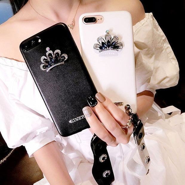 Mobile Phone Shell Iphone8plus Leather Case 7p Rhinestone Crown 6s Female Models Lanyard