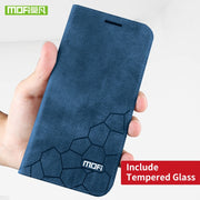 Blue case and glass