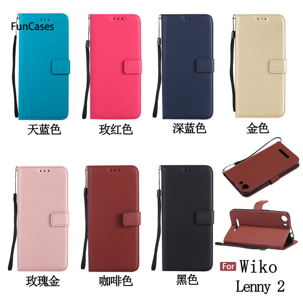 Multicolor PU Leather Case SFor Etui Wiko Lenny 2 Soft Silicone Back Cover Protective Transparent PU Leather Case Wiko Lenny 2