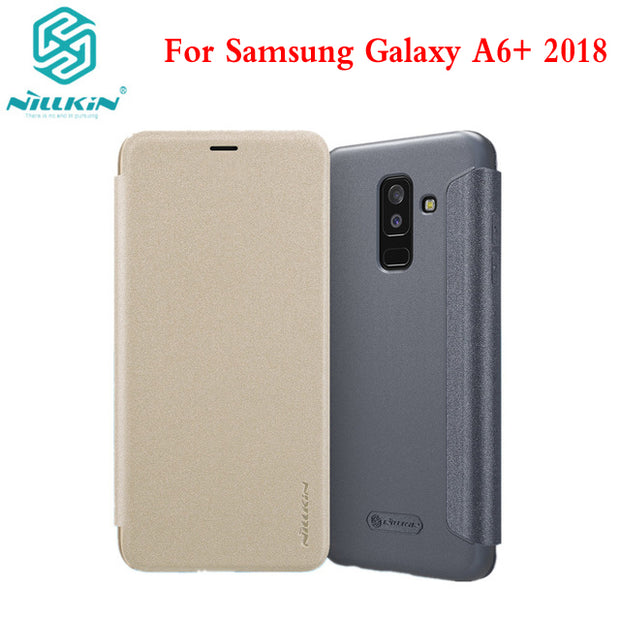 size 40 aca56 a2920 NILLKIN Sparkle Flip PU Leather Case For Samsung Galaxy A6+ A6 Plus 2018  Hard Back Cover Plastic Back Cover Phone Bag Case