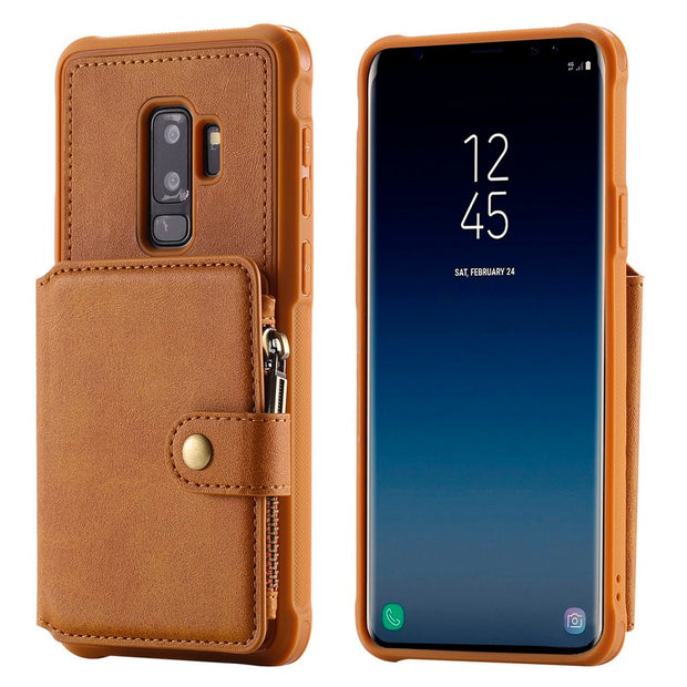 NOWAL Phone Case For Samsung Galaxy S9 Plus Flip Zipper Wallet PU Leather Card Slots Stand Back Cover For Samsung S8 Plus Note 8