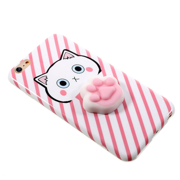 New Bakeey For IPhone6 6s 6Plus 6sPlus Funny Soft TPU Cover Case With Cartoon 3D Squishing Slow Rising Cat Claws Squeeze Toy