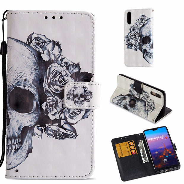 "New Flip PU Leather Case For Huawei P20 5.8"" 3D Printed Wallet Bag With Stand Feature Card Slots Magnetic Clasp Protective Cover"