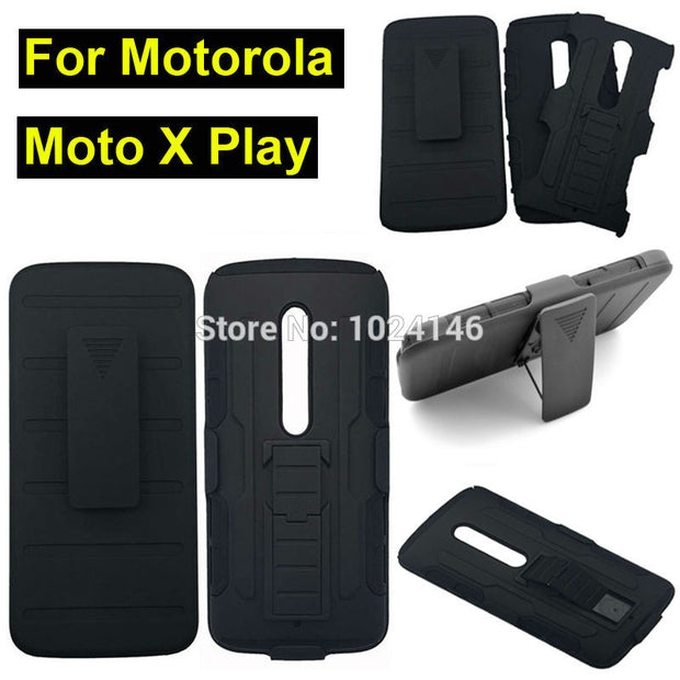 New Future Armor Heavy Duty Rugged Belt Clip Defender Stand Case For Motorola Moto X Play / X3 Lux XT1562 With Kickstand Cover