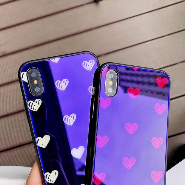 New Love Heart With Blue Light Phone Shell For IPhone X 8 Plus 6 6S 7 Plus Tempered Glass+Soft TPU Back Cover Protective Case