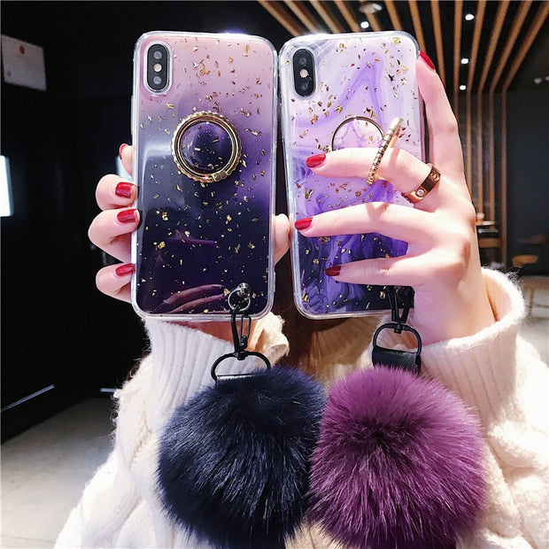 New Luxury Gradient Marble Phone Case For IPhone X 6 XS 6S 7 8 XR XS MAX Ring Case For IPhone 6 7 6S 8 Plus Case