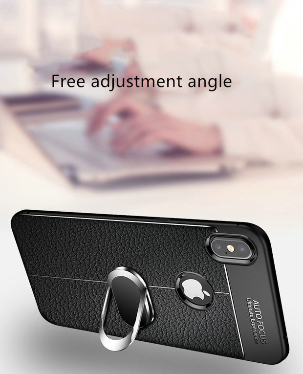 New Magnetic Car Holder Silicon Phone Case For Iphone 7 8 6 6s Plus 5s 5 SE X Xs Max Xr Litchee Texture Soft Protect Cover Coque