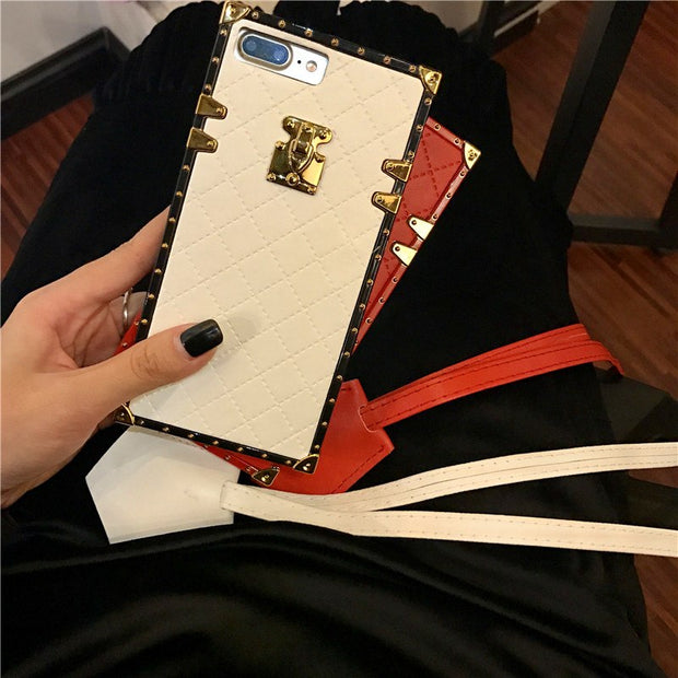 New Top Fashion Lambskin Pattern Fitted Case For Iphone X XS MAX XR 7 8plus 6 6S+ Fashion Sling Soft TPU Phone Cover Funda
