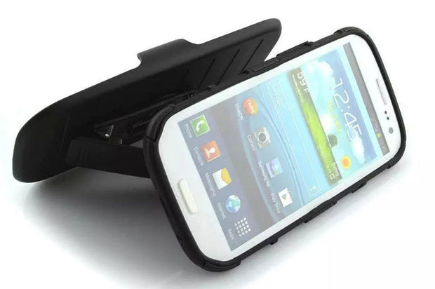 "New Arrival Magnetic Armor Stand PC Leather Case For Samsung GALAXY S3 I9300 SIII 4.8"" Protector Shell Back Cover Skin"