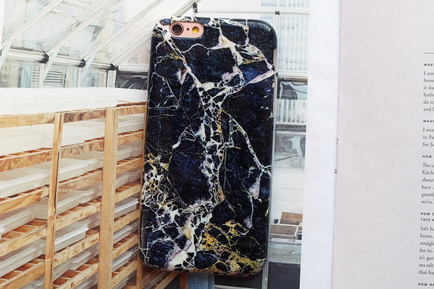 Newest High Quality Protective Midnight Gold Marble Phone Case For IPhone 6 6s 6Plus 6s Plus 7 7 Plus Luxury Glossy Marble Cover