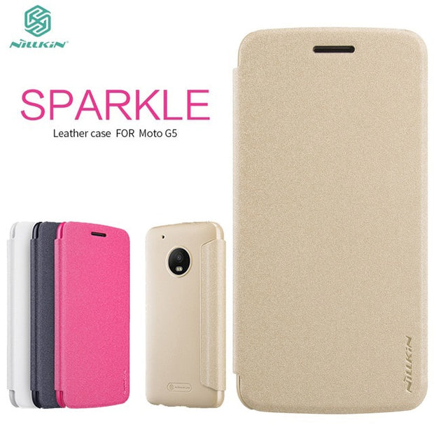 Nillkin For Moto G5 Case Cover 5.0 Inch NILLKIN Sparkle PU Leather Flip Cover Plastic Back Cover For Motorola Moto G5 Case