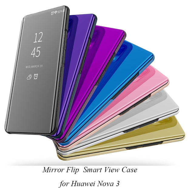 Nova3 Clear View Mirror Flip Case For Huawei Nova 3 Cover Luxury PU Leather Smart Cover For Huawei Nova 3 Phone Case