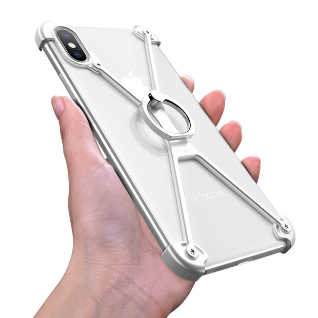 promo code 9972f fe2e0 OATSBASF X Shape Ring Holder Phone Case For IPhone X Case Personality  Border Metal Bumper Case For IPhone X With Gift Glass Film