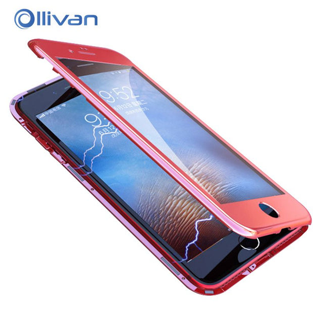 OLLIVAN 360 Degree Magnetic Adsorption Case For Iphone 7 8 Plus X Full Protection Hard Phone Cover For Iphone 6S Case With Glass