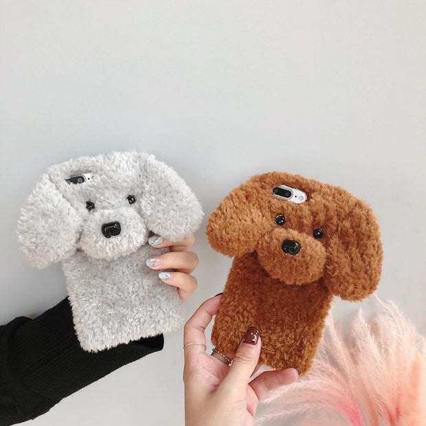 OLLIVAN 3D Teddy Dog Plush Fur Cover Cartoon Case For Iphone 6 Plus 7 7plus 8 8plus X XR XS Max Case Warm Winter Silicone Shell
