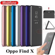 OPPO Find X View Window Smart Phone Case Mirror Flip Stand Luxury Plastic Leather Case OPPO Find X 360 Full Protective Cover