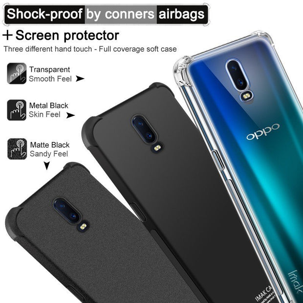 OPPO R17 Case IMAK Airbag Version Shockproof Silicone Soft TPU Back Cover Case For OPPO R17 With Film