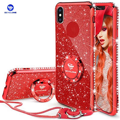 Ocyclone For IPhone X Case X Thin Soft Glitter Cute Sparkly Phone Case Girls Kickstand Bling Diamond Rhinestone Bumper Ring