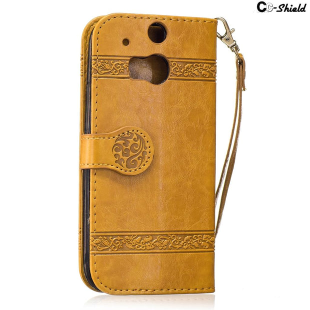 Oil Wax Lines Rose Flip For HTC One M8 Case Eye M 8 S 2014 M8s Case Phone Leather Cover For HTC One 2 One2 M8e M8St M8Sv Cases