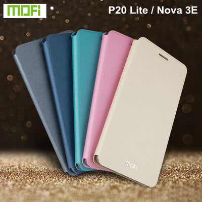 Original Mofi PU Leather Case For Huawei P20 Lite Cover 5.84 Inch Phone Cases Stand Flip Cover For Huawei Nova 3E Case Pink