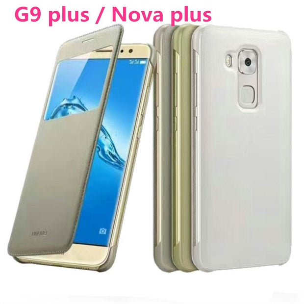 Original Smart Window View Flip Cover PU Leather Case For Huawei Nova Plus / G9 Plus MLA-L01 L02 L03 MLA-L11 L12 L13