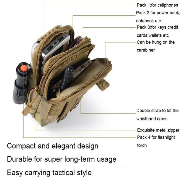 Outdoor Molle Sport Waist Pack Purse Mobile Phone Bag For Oppo Neo / Find Gemini Plus Way / GeminiPlus Gemini+ Flip Cover Case
