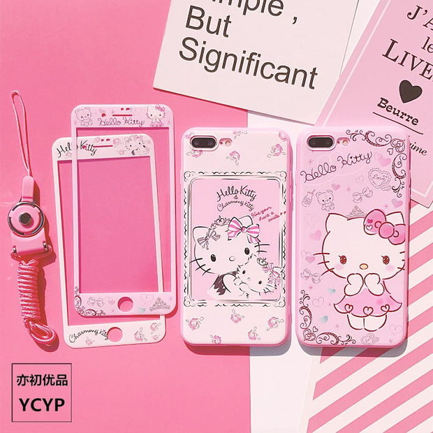P20 Pro Hello Kitty Case +Tempered Glass Screen Film ,Pink Case For Huawei Nova2S/3/3E/P20/P10/P10plus Cartoon Back Cover