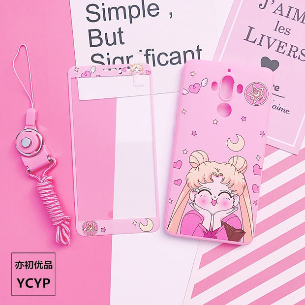 P20 Pro Sailor Moon Case +Tempered Glass Screen Film,Pink Girl Case For Huawei Nova2S/3/3E/P20/P10/P10plus/mate9/10 Back Cover