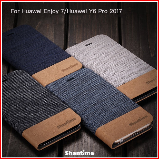 PU Leather Phone Case For Huawei Enjoy 7 Flip Case For Huawei Y6 Pro 2017 Business Case Soft Silicone Back Cover