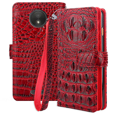 "PU Leather Crocodile Case For Fundas Motorola Moto C Plus Case For Moto C Plus XT1754 XT1750 XT1723 Case 5"" + Card Holder"