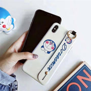 Phone Back Case For IPhone XR XS MAX 6s 8 7 Plus Blue Light Ray Doraemon Japan Cartoon Pattern Holder Stand Cover With Wristband