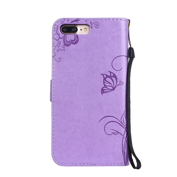 Phone Bag Cover Case For Apple IPhone 8 Plus 5.5'' 3D Flower Butterfly Flip Leather Soft Back Stand Case Cover For IPhone 7 Plus