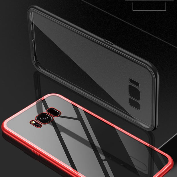 Phone Case For Samsung S8 S9 Plus Magnetic Adsorption Metal Cover Back Tempered Glass SL@88