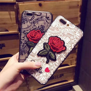 Phone Cases For IPhone 5S SE 6 6S 7 8 8P X XS MAX For OPPO R11 R9 R7 A31 A53 A79 R17 F9 Lace Flower Case Rose Cover