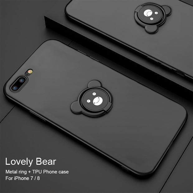 Phone Case Ring Holder For IPhone 7 8 Case X Cute Bear Soft TPU For Cover IPhone 6 7plus Case Original For Coque IPhone 8 Case