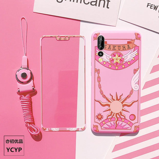 Pink Sakura Cover For Huawei P20 /P20pro TPU Case & Front Tempered Glass For Huawei Nova2s/ Nova 3e /honor V10 Magic Array+strap