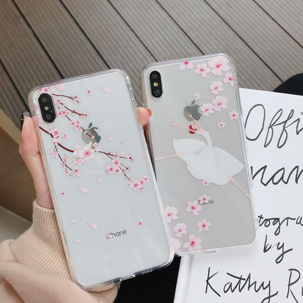 Plum Flower Girl Pattern Clear Tempered Glass TPU Phone Case For Apple IPhone XS Max Back Cover For IPhone X 6 6S 7 8 Plus XR