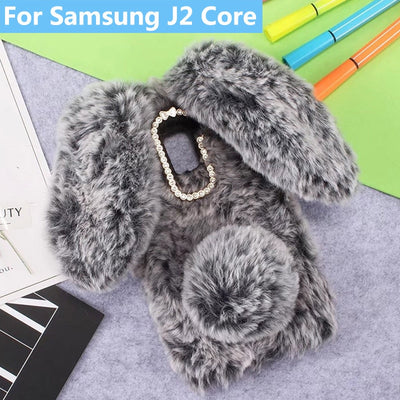 Plush Bunny Case For Samsung Galaxy J2 Core Soft Fur Cute 3D Rabbit Ears TPU Bling Diamond Fluffy Phone Case Cover