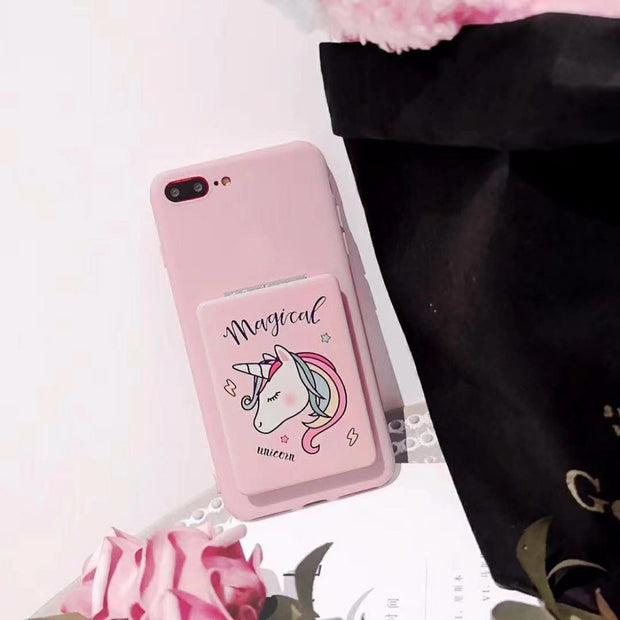 Premium Protective Case Pink Cute Lovely Unicorn Design Clear Case With Mirror For IPhone 6 6S 7 8 Plus X